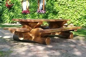 mobilier de jardin exterieur artisans bois morvan With maison rondin bois prix 19 tables