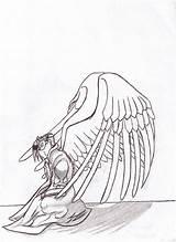 Template Coloring Kiln Kneeling Angel Sketch sketch template