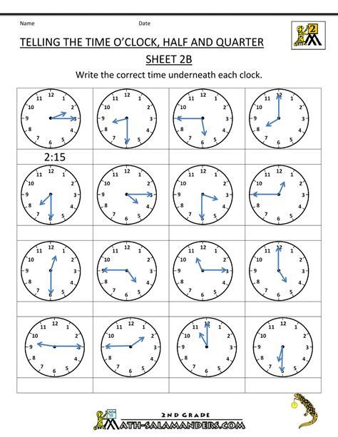 Time Worksheet O'clock, Quarter, And Half Past