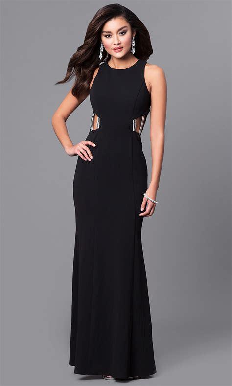 jewel embellished junior black prom dress promgirl