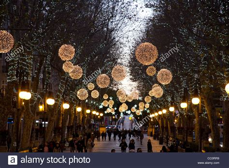 Christmas Decorations In Street Palma De Majorca Spain