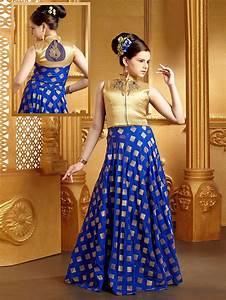 Crop Top Dress Designs Royal Blue Silk Classy Lehenga Choli Gowns For Girls