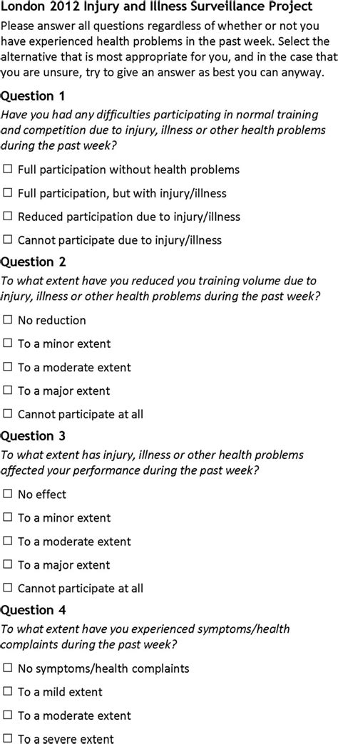 oslo sports trauma research center questionnaire