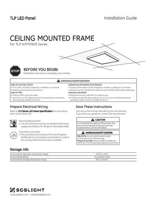 Led Panel Installation Guide Ceiling Mount Frame