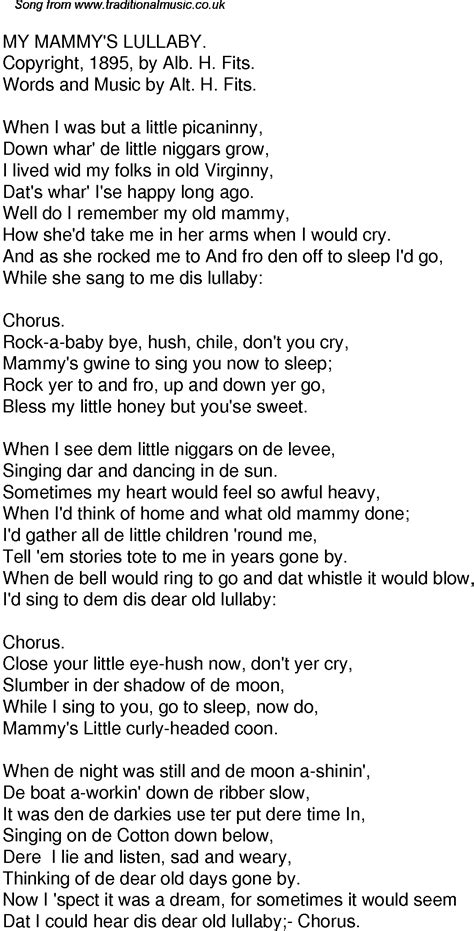 Rock The Boat Baby Don T You Cry by Time Song Lyrics For 54 My Mammys Lullaby