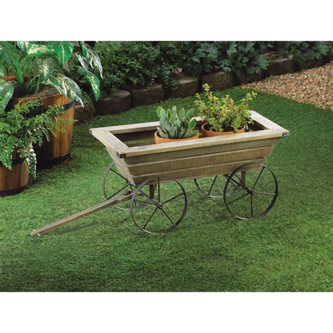 rustic pine oxcart garden cart planter box with metal