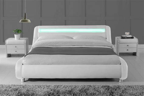 31830 new what size is a bed madrid led lights modern designer bed white faux leather
