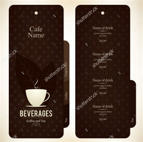 Coffee menu design template with list of coffee drinks, food and desserts. simple cafe menu