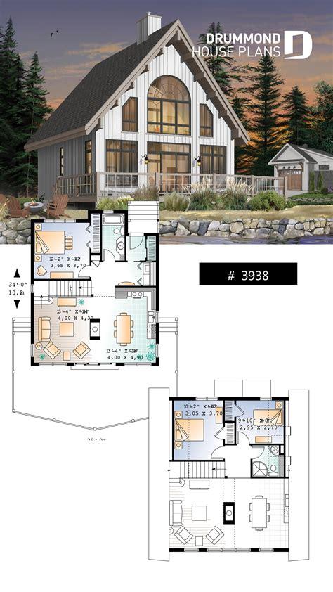 frame wood cabin house plan  mezzanine  open floor plan lay lakefront cottage home