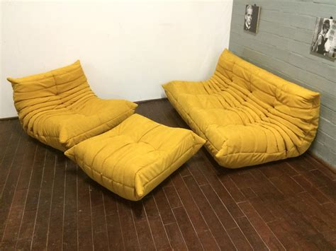 yellow alcantara togo sofa set by michel ducaroy for ligne roset 1970s set of 3 for sale at pamono