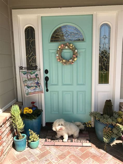 aqua front doors ideas  pinterest teal front
