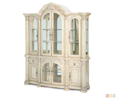 Silver China Cabinet by Michael Amini Monte Carlo Ii Silver Pearl Mirrored Back