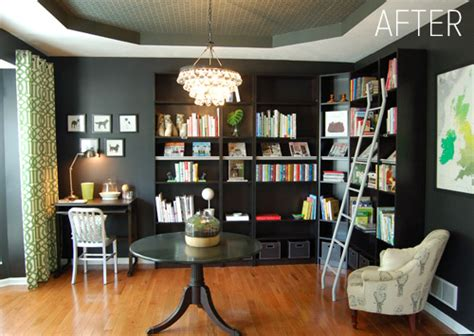 Before & After Dining Room Turned Library Design*sponge
