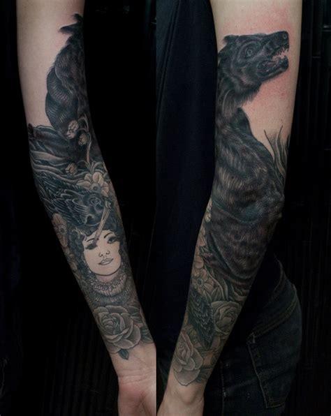 sleeve black wolf tattoo design  tattoosdesign  tattoos
