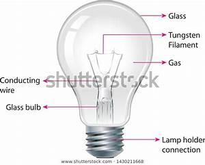 Diagram Showing Parts Modern Incandescent Light Stock