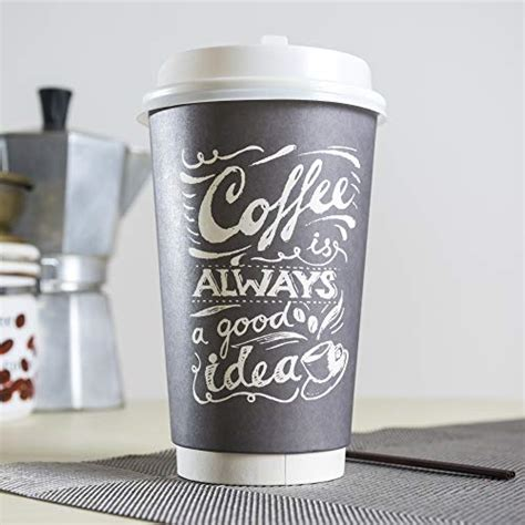 White 12 oz paper coffee cups with recyclable dome lids, 100 pk. To Go Disposable Hot Coffee Cups with Lids & Stirrers ...
