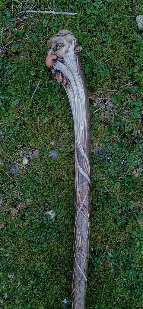 carved hazel staff  ms art walking sticks handmade