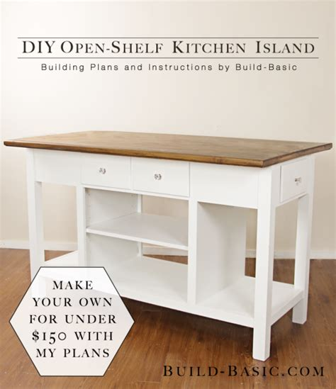 open kitchen plans with island build a diy open shelf kitchen island build basic