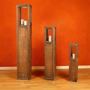 Säulen Aus Holz : 3 tlg set laterne windlicht s ulen rustica kerze real ~ Orissabook.com Haus und Dekorationen
