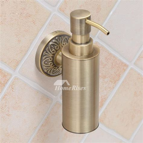 brass soap dispenser wall mount gold vintage bathroom