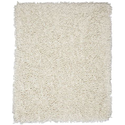 White Area Rug by Anji Mountain Ivory White 5 Ft X 8 Ft Silky Shag Area