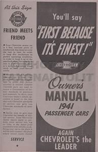 1941 Chevy Car Owners Manual Fleetline Deluxe Sedan