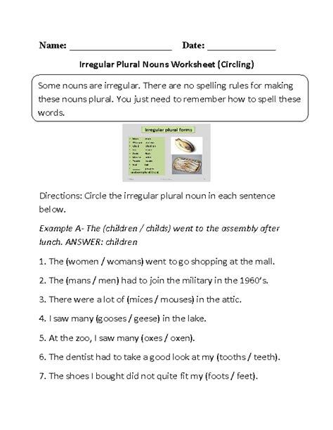 Plural Of Resume by Circling Irregular Plural Nouns Worksheet Part 1 Ronans