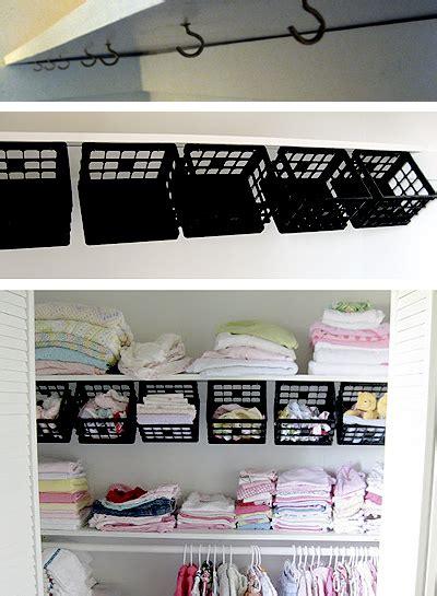 dollar store plastic mini crates  hooks   top shelf  instantly