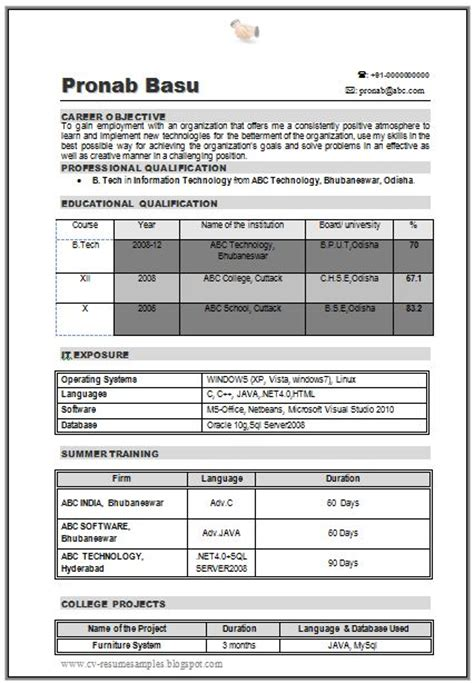 B Tech Fresher Resumes Free by B Tech It Resume Sle For Fresher 1 Career