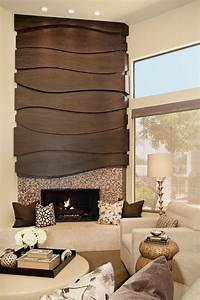 contemporary wood mosaic fireplace surround hgtv