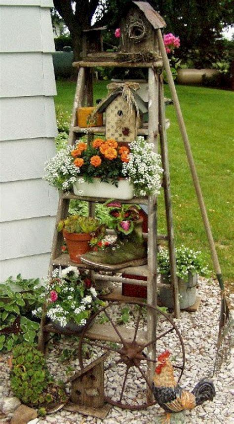 brilliant diy vintage  rustic garden decor ideas
