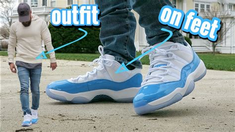 Air Jordan Retro 11 Low UNC u0026quot;University Blueu0026quot; ON FEET + OUTFIT - YouTube