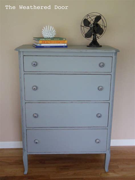 drawer dresser  blue  white pulls  weathered