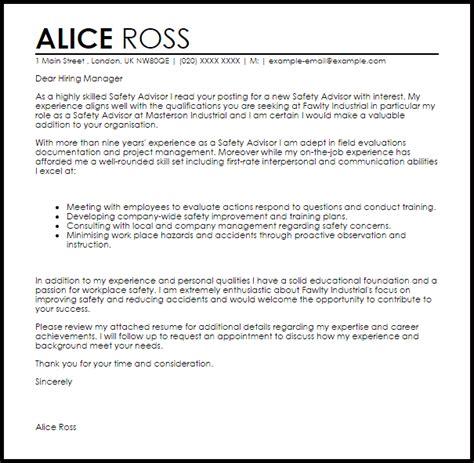 safety advisor cover letter sample cover letter