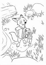 Zootopia Coloring Judy Nick Hopps Wilde Pages Disney Characters sketch template