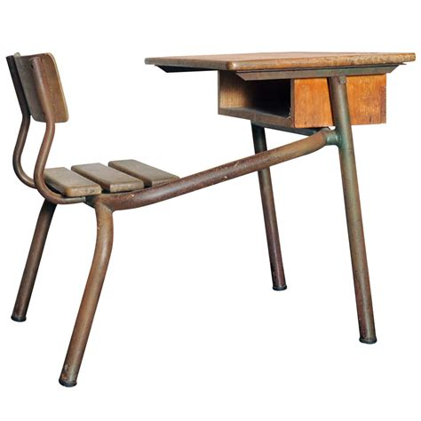desk bureau d 39 école possibly jean prouvé at 1stdibs