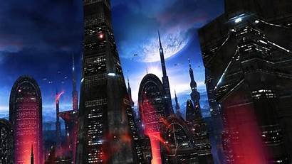 Space Colony Epic Alien Screen Cityscape Into