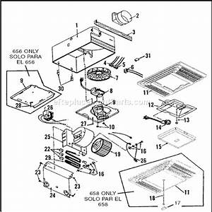 broan 658 parts list and diagram ereplacementpartscom With motor replacement further broan motor repalcement parts and diagram