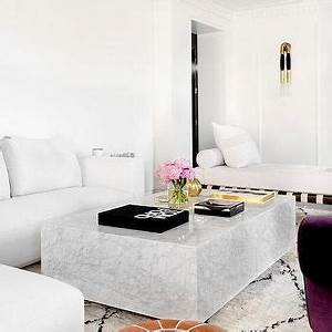 modern mediterranean design mediterranean living room With white block coffee table