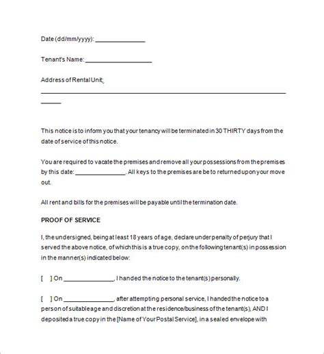 Template For 60 Day Notice To Vacate by Notice Templates 104 Free Word Pdf Format
