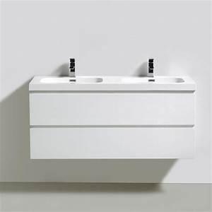 Meuble bas de salle de bains blanc happy avec plan et 2 for Salle de bain 2 vasques
