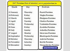 2017 Purnima Days in India, Pournami Days, Purnima