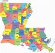 Louisiana Map with Parishes