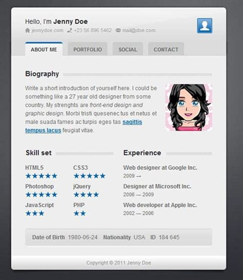 50 best vcard template for resumes 56pixels
