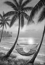 Sunset Drawing Black And White