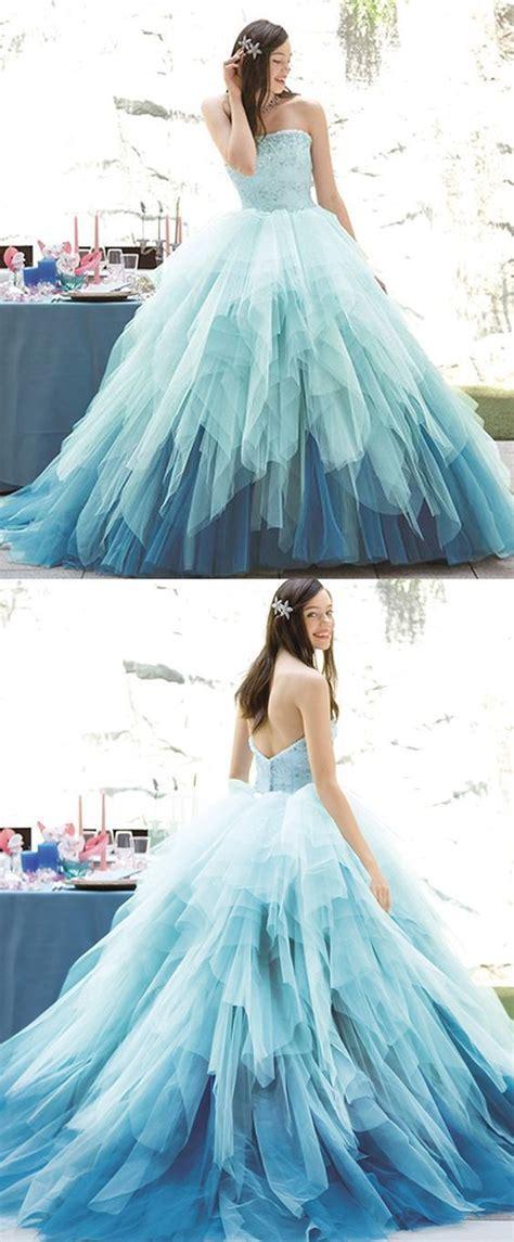 Gradient Prom dress,Tulle Prom Dress,Strapless Evening ...