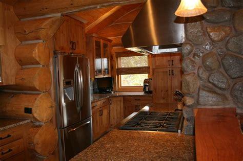 beautiful log cabin kitchen design in colorado jm