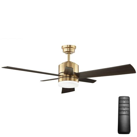 Kitchen Ceiling Fan Ideas - home decorators collection hexton 52 in led indoor brushed gold ceiling fan with light kit and