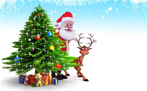 santa claus and reindeer behind christmas tree and gifts