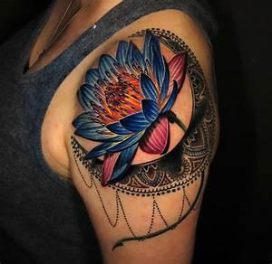 Vivid Lotus Flower & Moon   Best tattoo design ideas